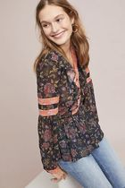 Anthropologie Flower Patterns Long Sleeves Medium With Jewels