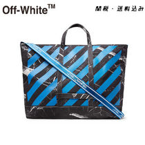 Off-White Unisex Cambus Street Style A4 2WAY Totes