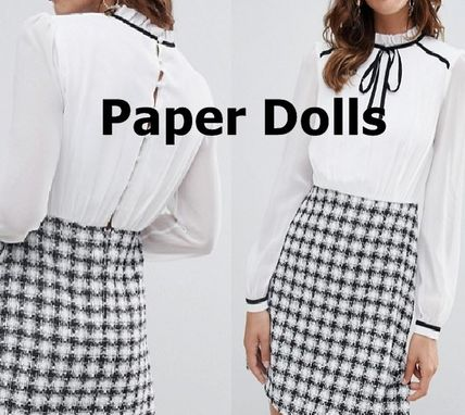 Other Plaid Patterns Zigzag Tight Long Sleeves Formal Style