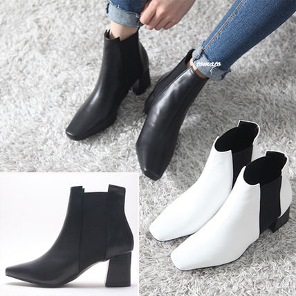 Ankle & Booties Square Toe Casual Style Faux Fur Plain Block Heels
