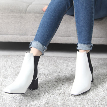Ankle & Booties Square Toe Casual Style Faux Fur Plain Block Heels 5