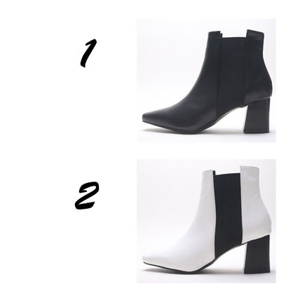 Ankle & Booties Square Toe Casual Style Faux Fur Plain Block Heels 7