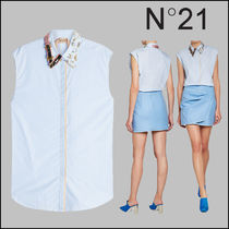 N21 numero ventuno Casual Style Long Sleeves Plain Cotton Long Shirts & Blouses