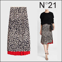 N21 numero ventuno Leopard Patterns Casual Style Silk Long Maxi Skirts