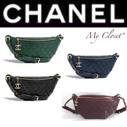 1b4fad5d1b35 ... CHANEL Hip Packs Other Check Patterns Unisex Calfskin Street Style 2WAY  Chain ...