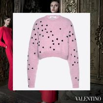 VALENTINO Crew Neck Short Heart Casual Style Long Sleeves With Jewels