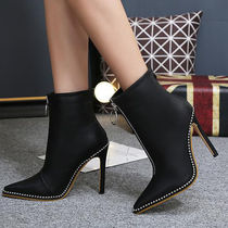 Casual Style Faux Fur Studded Plain Pin Heels