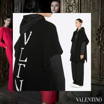 VALENTINO Casual Style Unisex Wool Street Style V-Neck Bi-color Long