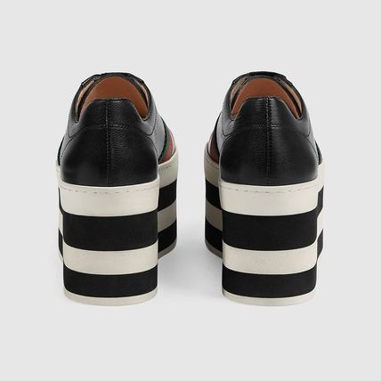 8153f480ab6 ... GUCCI Platform   Wedge Stripes Platform Casual Style Street Style Plain  Leather ...