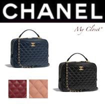 CHANEL MATELASSE Other Check Patterns Calfskin Blended Fabrics Street Style