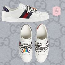 GUCCI Ace Stripes Blended Fabrics Street Style Plain Leather Sneakers