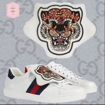GUCCI Ace Blended Fabrics Street Style Other Animal Patterns Leather