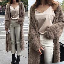 Cable Knit Nylon Long Sleeves Plain Long Gowns Oversized