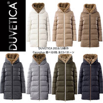 DUVETICA Fur Blended Fabrics Plain Long Khaki Down Jackets