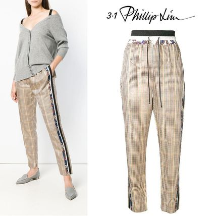 Printed Pants Other Check Patterns Paisley Casual Style Long