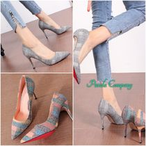 Other Check Patterns Casual Style Faux Fur Pin Heels