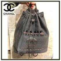 CHANEL DEAUVILLE Stripes Canvas 2WAY Chain Plain Elegant Style Backpacks