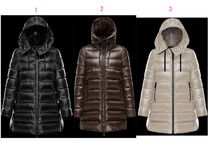 MONCLER SUYEN Plain Leather Medium Down Jackets
