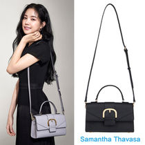 Samantha Thavasa Plain Leather Office Style Totes