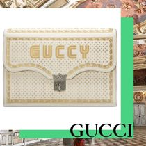 GUCCI Unisex Chain Leather Clutches