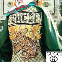 GUCCI Unisex Leather Oversized Biker Jackets