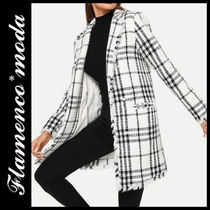 Other Check Patterns Casual Style Tweed Long Fringes Jackets
