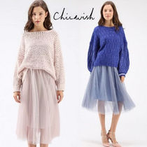 Chicwish Plain Medium With Jewels Elegant Style Midi Skirts