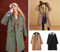 ELF SACK Casual Style Street Style Plain Long Chester Coats