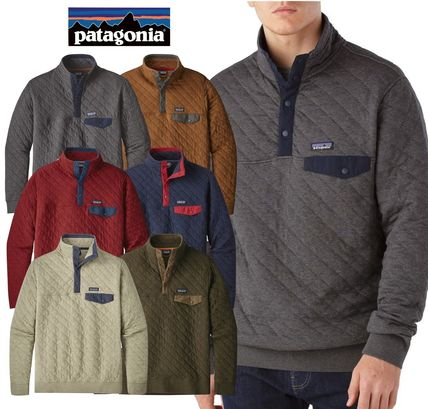 Patagonia Sweatshirts Pullovers Street Style Long Sleeves Plain Cotton Khaki Bold