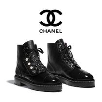 CHANEL Casual Style Suede Plain Mid Heel Boots
