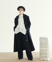 13MONTH Stripes Casual Style Unisex Wool Street Style Long Oversized