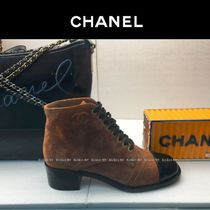 CHANEL Round Toe Lace-up Suede Bi-color Plain Block Heels