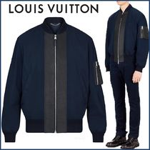 Louis Vuitton Short Blended Fabrics Street Style Bi-color Plain Jackets