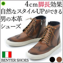 BENTER Wing Tip Plain Leather Oxfords