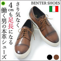 BENTER Straight Tip Plain Leather Oxfords