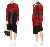 BALENCIAGA Other Check Patterns Casual Style Long Sleeves