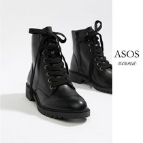 ASOS Lace-up Casual Style Faux Fur Blended Fabrics Street Style