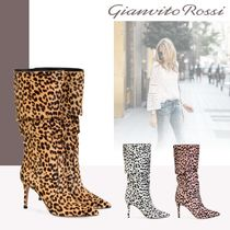 Gianvito Rossi Leopard Patterns Pin Heels Elegant Style High Heel Boots