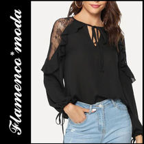 Casual Style Long Sleeves Plain Lace Shirts & Blouses