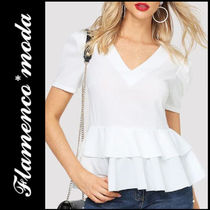 Peplum Plain Short Sleeves Elegant Style Shirts & Blouses