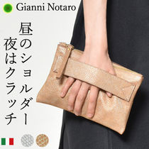 GIANNI NOTARO Bag in Bag 2WAY Plain Leather Office Style Clutches