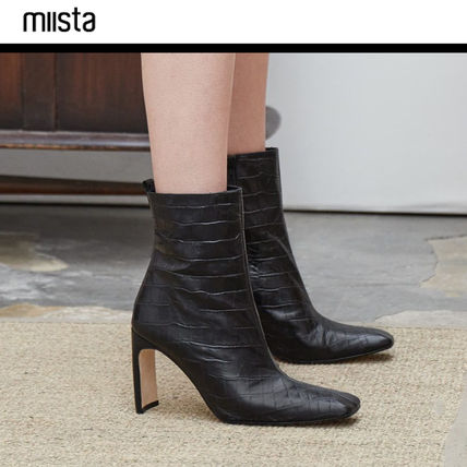 f0741ce9925 ... miista High Heel Square Toe Leather Elegant Style High Heel Boots ...