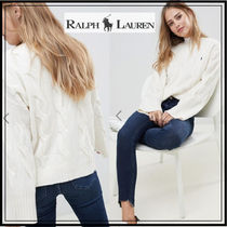 Ralph Lauren Cable Knit Casual Style Wool Medium High-Neck