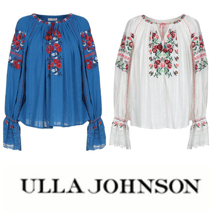 Flower Patterns Lace-up Casual Style Long Sleeves Cotton