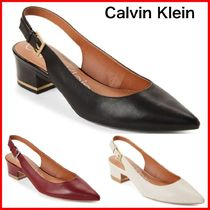 Calvin Klein Casual Style Plain Leather Kitten Heel Pumps & Mules