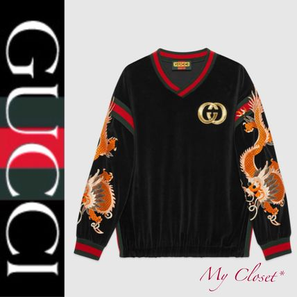 GUCCI Sweatshirts Street Style V-Neck Long Sleeves Other Animal Patterns