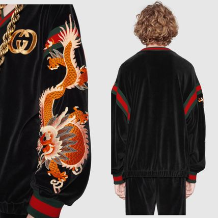GUCCI Sweatshirts Street Style V-Neck Long Sleeves Other Animal Patterns 2