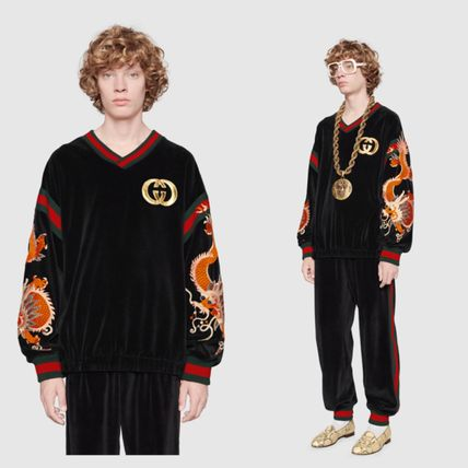 GUCCI Sweatshirts Street Style V-Neck Long Sleeves Other Animal Patterns 3