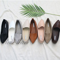 Square Toe Casual Style Faux Fur Plain Flats