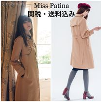 Miss Patina Casual Style Plain Other Animal Patterns Medium Trench Coats